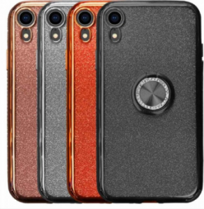 Compatible Glitter Gel Case With Finger Ring Holder For iPhone XR