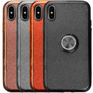 Compatible Glitter Gel Case With Finger Ring Holder For iPhone X