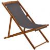 Argos Home Wooden Deck Chair - Grey