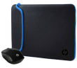 HP 200 Wireless Mouse and 15.6 Inch Black/Blue Sleeve Bundle