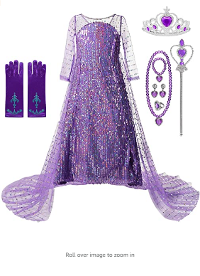 DOCHEER Girls Princess Costumes Shining Halloween Cosplay Party Dress Up with Long Cape