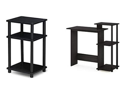 FURINNO Just 3-Tier End Table, 1-Pack, Americano/Black & Efficient Home Laptop Notebook Computer Desk, Square Side Shelves, Espresso/Black