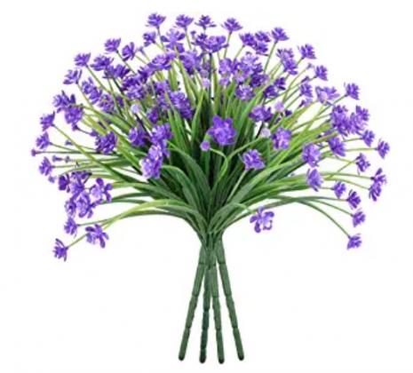 Ivalue 8 Bundles Purple Faux Flowers Outdoor Artificial Plants UV Resistant Plastic Shrubs Bushes No Fade Greenery Plants for Hanging Planter Home Gar