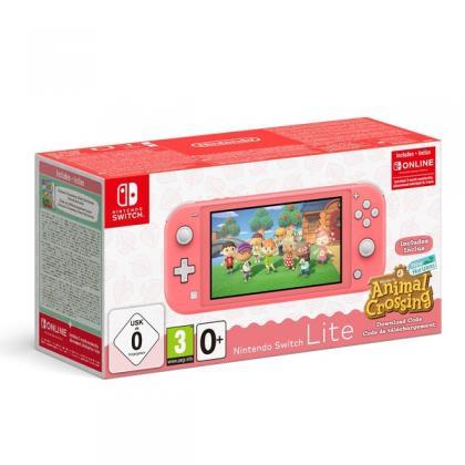 Nintendo Switch Lite Coral + Animal Crossing + Nintendo Switch Online 3 Month Membership Bundle