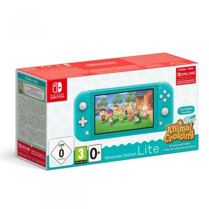 Nintendo Switch Lite Turquoise + Animal Crossing + Nintendo Switch Online 3 Month Membership Bundle