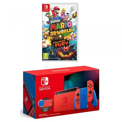 Nintendo Switch Mario Red & Blue Console & Super Mario 3D World + Bowser's Fury