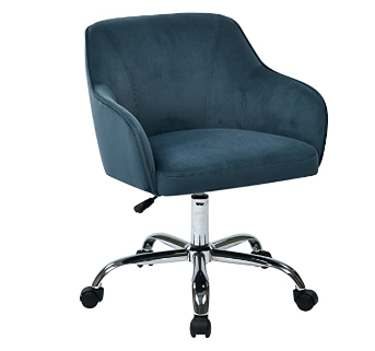 OSP Home Furnishings Bristol Chrome Base Upholstered Task Chair, Atlantic Blue Velvet