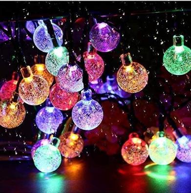 Solar String Lights Garden 50 LED 24Ft Outdoor String Lights Multi-Colored Waterproof Crystal Ball Fairy Lights, Decoration Lighting for Home, Garden,