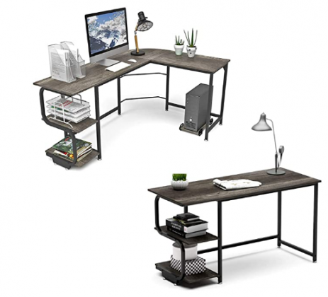 Teraves L Shaped Desk and 47 inch Computer Desk with Storage Shelves,S Shaped Computer Desk for Home Office