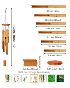 Bamboo Wind Chimes-30'' Wooden Wind Chimes for Outdoor & Indoor,Garden, Yark,Patio and Home Décor (