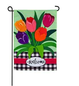 Evergreen Flag Indoor Outdoor Décor for Homes Gardens and Yards Welcome Spring Tulips Garden Appliq