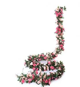 Miracliy 5 Pack 41 FT Fake Rose Vine Flowers Plants Artificial Flower Hanging Rose Ivy Home Hotel Of
