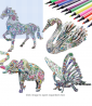 3D Coloring Puzzle Set,4 Animals Puzzles with 12 Pen Markers, Art Coloring Painting 3D Puzzle for Ki