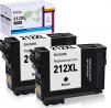 BAISINE Remanufactured 212XL Black Ink Cartridge Replacement for Epson 212 XL 212XL T212XL120 T212XL