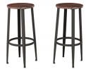 Bar Height Stools-Backless Seating for Kitchen or Dining Room-Metal Base, Wood Seat- Modern Farmhous