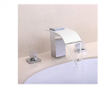 BULUXE Waterfall Bathroom Sink Faucet in Polished Chrome, 3 Hole Double Handles Widespread Bathroom