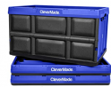 CleverMade 62L Collapsible Storage Bins - Durable Plastic Folding Utility Crates, Solid Wall Stackab