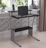 Flash Furniture Clifton Computer Desk - Black Home Office Desk - Raised Monitor Shelf - Perforated S