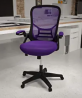 Flash Furniture High Back Purple Mesh Ergonomic Swivel Office Chair with Black Frame and Flip-up Arm