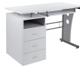 Flash Furniture White Desk with Three Drawer Pedestal and Pull-Out Keyboard Tray