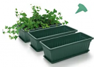 GROWNEER 3 Packs 17 Inches Green Flower Window Box Plastic Vegetable Planters with 15 Pcs Plant Labe