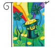 Home Garden Shamrock and Gold Coin Decorative Rainbow Pot St Patrick's Day Clover House Flag Banner