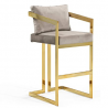 Iconic Home Layla Bar Stool Chair Velvet Upholstered Slope Arm Design Architectural Goldtone Solid M