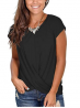 Jescakoo Women's Short Sleeve Round Neck T Shirt Front Twist Tunic Tops Casual Loose Fitted