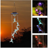 LED Solar Hummingbird Wind Chime, Color Changing Waterproof Solar String Lights Wind Chimes for Home