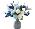 NAWEIDA Artificial Flowers with Vase Silk Hydrangea Flower Arrangements for Home Garden Party Weddin