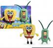 Nickelodeon Spongebob Squarepants 2-Piece Plush Set, 7-Inch Spongebob and 6-Inch Plankton