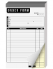 Order Form Pad 2 Part Carbonless Book, Tear Off Carbon Copy White and Yellow Pages, Chipboard Backin