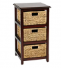 OSP Home Furnishings Seabrook 3-Tier Storage Unit with Natural Baskets, Espresso