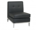 OSP Home Furnishings Wall Street Faux Leather Armless Chair with Chrome Finish Base, Black