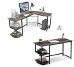 Teraves L Shaped Desk and 47 inch Computer Desk with Storage Shelves,S Shaped Computer Desk for Home
