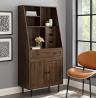 Walker Edison Secretary Hutch Wood Desk with Keyboard Drawer Bookshelf Home Office Storage Cabinet,