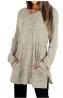 XIEERDUO Womens Casual Sweatshirts Long Sleeve Shirts Oversized with Pocket Tunic Tops S-2XL