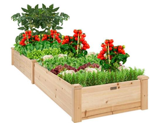 Best Choice Products 96x24x10in Outdoor Wooden Raised Garden Bed Planter for Vegetables, Grass, Lawn, Yard - Natural