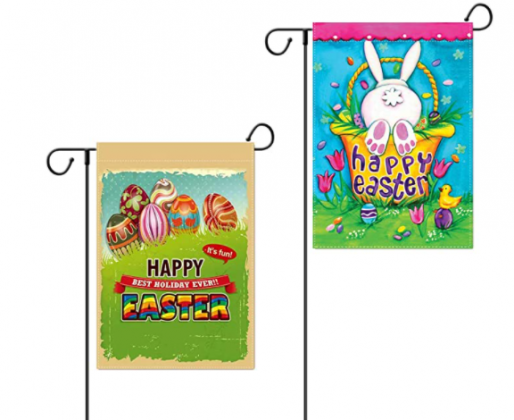 Esther Beauty Happy Easter Garden Logo Bunny Egg Decoration, Double-Sided Garden Flag 12.5 x 18.5 inches (2 Styles)