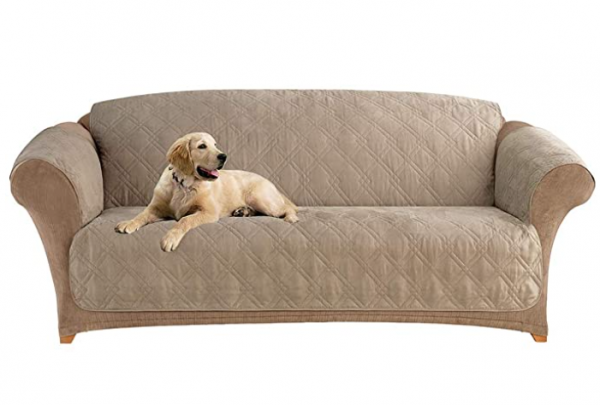 SureFit Home Decor Microfiber Pet Sofa One Piece Quilted Furniture Cover, Relaxed Fit, Polyester, Machine Washable, Sable Color