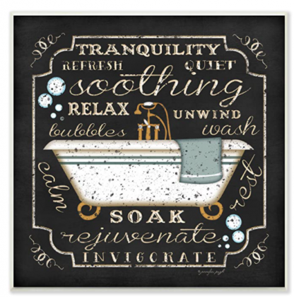 The Stupell Home Decor Collection Tranquility Tub Icon Textual Bathroom Art Wall Plaque, 12 x 0.5 x 12, Proudly Made in USA