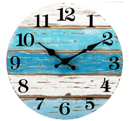 Wooden Wall Clock Silent Non-Ticking , Battery Operated, Vintage Round Rustic Coastal Wall Clocks Decorative for Home Kitchen Living Room Office(10 In