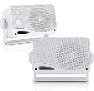 3-Way Weatherproof Outdoor Speaker Set - 3.5 Inch 200W Pair of Marine Grade Mount Speakers - in a He