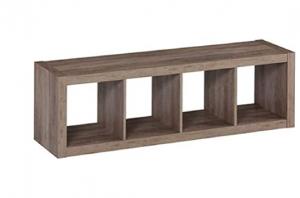 Better Homes and Gardens.. Bookshelf Square Storage Cabinet 4-Cube Organizer (Weathered) (White, 4-C