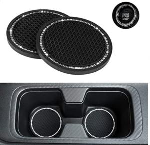 eing Car Coasters PVC Travel Bling Auto Cup Holder Insert Coaster Anti Slip 2pcs Crystal Vehicle Int