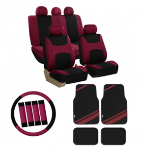 FH Group FB030115 Combo Set: Light & Breezy Cloth Seat Covers (Airbag & Split) W. FH2033 + F14407 Ca