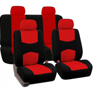 FH Group - FB050RED114 Universal Fit Full Set Flat Cloth Fabric Car Seat Cover, (Red/Black) (FH-FB05