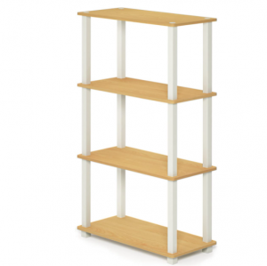 FURINNO Turn-S-Tube 4-Tier Multipurpose Shelf Display Rack, Square, Beech/White
