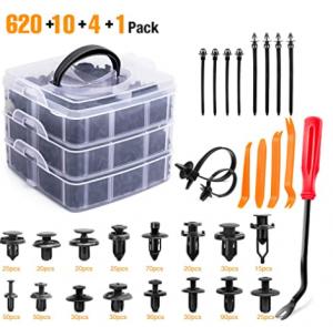 GOOACC 635Pcs Car Push Retainer Clips & Auto Fasteners Assortment -16 Most Popular Sizes Nylon Bumpe