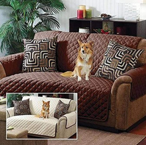 Home Details Quilted Reversible Furniture Protector Slipcover, Good for Dog Hair, Dust & Spills, Mac